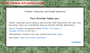 "Two-Dots ""internet explorer hates you!"" front-page."
